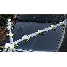 prezer guirlande dcorative de mariage pour voiture en tulle et roses avec ventouses blanc 1 - Ventouse Pour Decoration Voiture Mariage