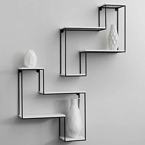 - Wand Montiert Holz Regal (CHOME Schwimmende Regal, Eisen Holz Bücherregal Wand montiert Display Rack Vintage Industrial Style für Home Decor Storage Organizer)
