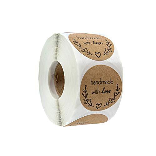 Amosfun 500 Blätter/Rolle handgefertigt mit Liebe Kraftpapier Etiketten Aufkleberrollen für Candy Bag Baking Packaging (500-blatt-notebook)