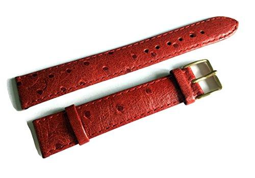 Uhren-Armband Lederband 18 mm Überlänge Rot Kalbsleder Straußen-Optik POLJOT International