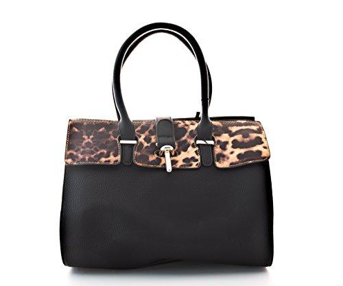 Damen Handtasche, Diese hochwertige Schultertasche ist jetzt erhältlich in den Farben rot, schwarz, blau, braun, beige, khaki Schwarz