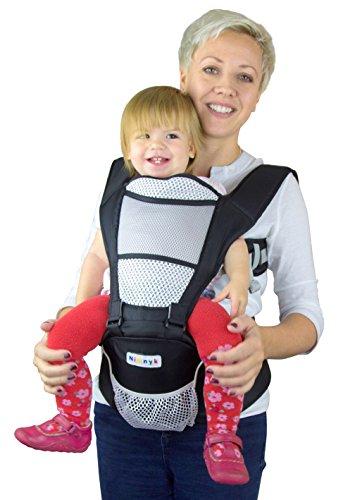 NimNik Baby Sling Carriers Hipseat – Ergonomics Front 2 Back Carrier, Black