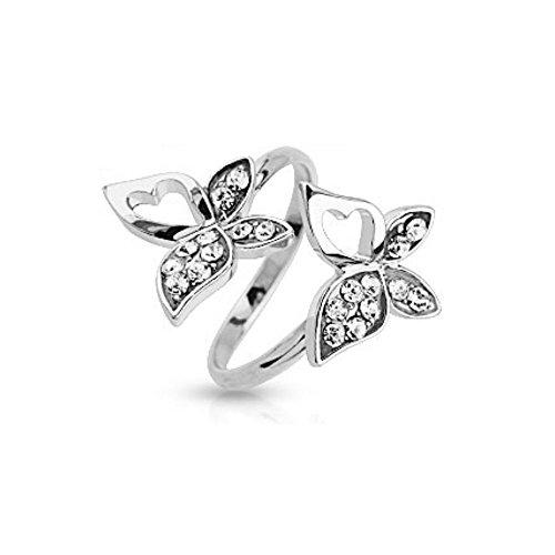 Bungsa® Mittelring Schmetterling mit Stein Silber Zehenring für Damen (Zehring Fussschmuck Fussring Toe-Ring Nail Ring Mittelring Nagelring biegbar verstellbar)