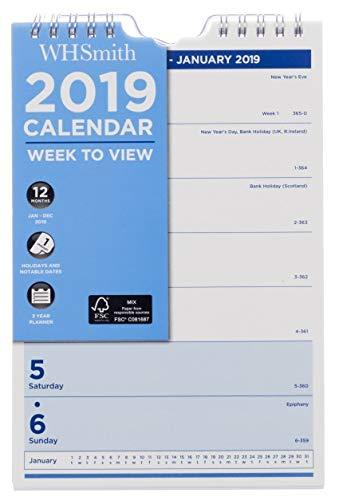 Whsmith piccolo calendario da parete 2019settimanale