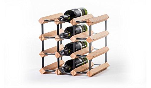 RAXI Classic Premium Weinregal aus Holz mit luxuriösem Design, Flaschenregal für 12x Wein Flaschen 32,5x32,5x30 cm