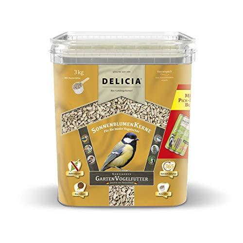 DELICIA Mangime per uccelli da giardino, semi di girasole, secchio da 3 kg
