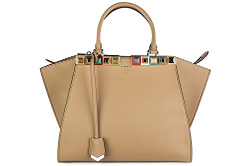 Fendi-womens-leather-handbag-shopping-bag-purse-3jours-borchie-brown