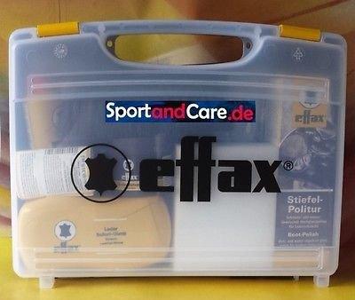 Effax Leder Pflege Koffer mit Stiefelpolitur, Ledergrip, Balsam, Ledercombi (Leder-koffer)