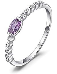 JewelryPalace Anillo de boda Clásico 0.3ct Oval Zafiro Alejandrita Creado en plata de ley 925
