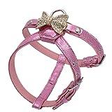 Jamory Hundegeschirr Geschirr Brustgeschirr Softgeschirr kleine mittelgroße Hunde XS S verstellbar mit Schleife Strass (XS, Pink)