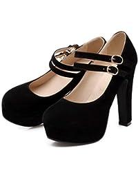 444fe4f006f9a Tacón Plataforma Zapatos para Mujer Zapato Zapatos de tacón de Plataforma  Flock Sexy Hebilla Maciza Tacones