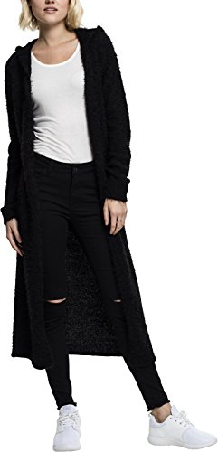 Urban Classics TB1750 Damen Strickjacke Ladies Hooded Feather Cardigan Schwarz (Black 7), X-Small