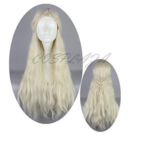 COSPLAZA Perücke Hellblond lang Anime Cosplay Wigs Daenerys Targaryen Fasching Haar