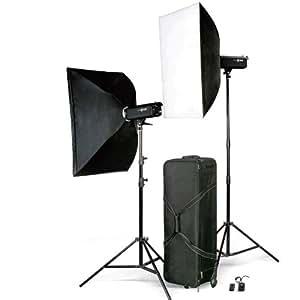 "LEINOX 2x 600WS Studioblitz Set ""LIBRA"", 2x Blitz TC-600 / 2x Lampenstativ XL / 2x Softbox / 1x Blitzauslöser Set / 1x Koffer (hergestellt von Godox)"