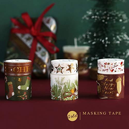 JKOU Tape 6 Stücke Frohe Weihnachten Frohes Neues Jahr Goldfolie Washi Klebeband Dekoration Party Time 15Mm 30Mm Farbabdeckbänder Schreibwaren