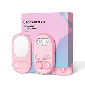 Inmorven Ultraschall Kontaktlinsenreiniger 2.0 Maschine Mini Auto Clean Keratin Box mit Spiegel tragbar wiederaufladbar für Reisen Urlaub Beste Geschenk zum Schutz Ihrer Augen und Kosmetik-Kontaktlinsen