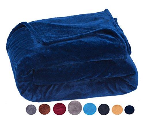 Microfaserdecke Tagesdecke 150 × 200cm Flauschige Coralfleece Kuscheldecke, 330 g/m² Modernen Farben Supersoft in Hotelqualität Bettdecke, Marineblau Leder Bett-bank