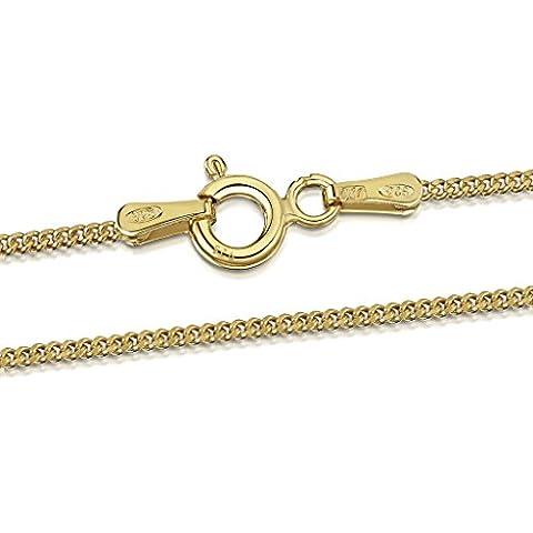 Amberta® Bijoux - Collier - Chaîne Argent 925/1000 - Plaqué Or 18K - Maille Gourmette - Largeur 1.3 mm - Longueur 40 45 50 55 60 70 cm