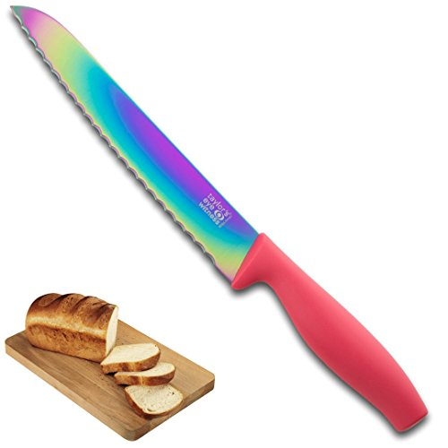 Irisierend Rainbow Farbige Messer-Set???Full Range von Gr??en/Typen: Sch?lmesser, alle Zweck, Santoku, Chef, Brot. Schnitzereien von Taylors Eye Witness - Iridescent Pink 20cm Bread Knife