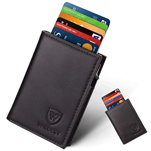 Porte Carte, Wilbest Portefeuille Porte-Cartes RFID Blocage en Cuir, Automatique Pop-up, Slim Wallet Elégant, Rangement Carte de Crédit et Billets, Saint-Valentin Fête Anniversaire Amis Parents