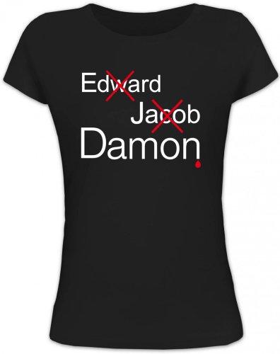 Shirtstreet24, VAMPIRE DAMON, Vampir Vampire Lady / Girlie Funshirt Fun T-Shirt, Größe: M,schwarz