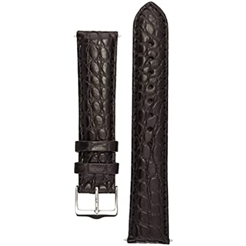 Signature Desire watch band. Replacement watch strap. Genuine Alligator Leather. Silver buckle (Nero, 20 mm - breve)