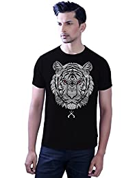 Tantra Mens 100 % Super Soft Combed Cotton Tiger Face Glo Prints Half Sleeve Printed Tshirt
