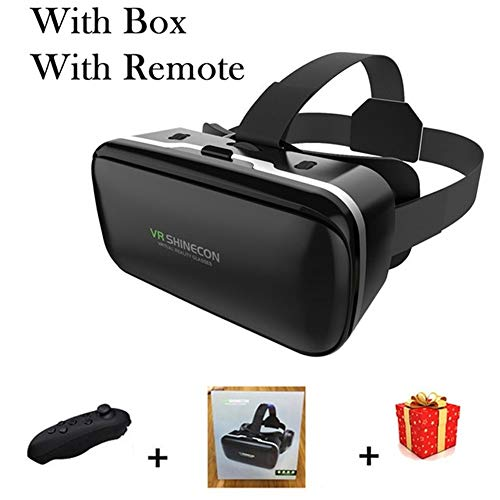 IN THE DISTANCE Brille-Kopfhörer-Sturzhelm VR 6.0 Casque Virtual Reality Glasses 3 D 3D Für Smartphone-Smartphone-Pappe (Color : with Box with Remote)