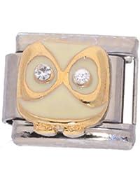 La Cima - Abalorio italiano compatible con pulsera Nomination, búho con piedras de cristal, 18 quilates