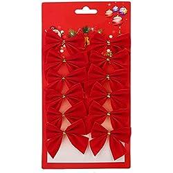 Weihnachten Schleifen Weihnachtsbaumschmuck DIY Zierschleifen für Christmas Party Dekoration(Rot)