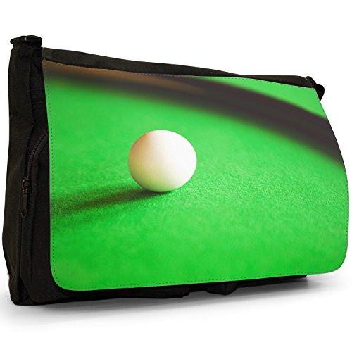 Fancy A Bag Borsa Messenger nero Eight Ball In Corner Pocket White Ball Ready On Snooker Green