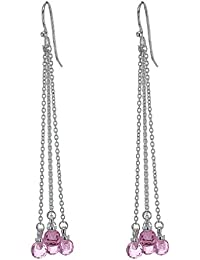 Tuscany Silver Sterling Silver Crystal Pink Bead Chain Drop Earrings
