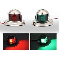 OurLeeme - Luces LED de seguridad para navegación, de acero inoxidable, luz verde y roja, 2 unidades