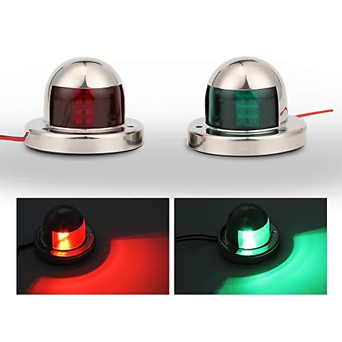 Boot Navigation Sicherheit Licht, ourleeme Edelstahl LED Sicherheit Signal, grün und rot Schleife Seite Steuerbord Leuchte Lampe Marine Boot Yacht Licht 12V 2
