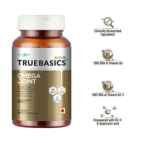 TrueBasics Omega Joint    2 in 1 formula with Omega-3 Fish Oil & Undenatured Type II Collagen (UC II)    Enhanced with Vitamin D3, Vitamin K2-7 & Hyaluronic Acid    Clinically Researched Ingredients    30 Softgel Capsules
