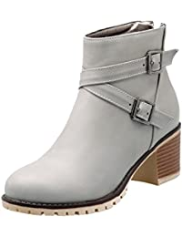 Mee Shoes Damen high heels runde langschaft Nubukleder Stiefel (34, Beigegrau)