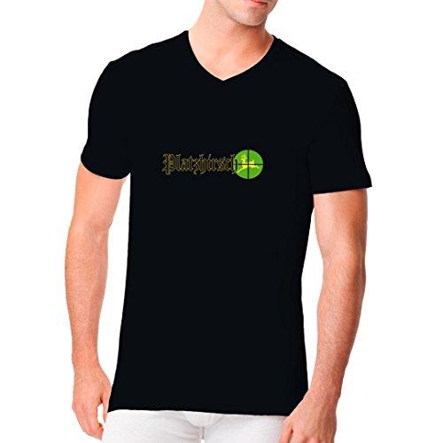 Fun Männer V-Neck Shirt - Platzhirsch Fadenkreuz by Im-Shirt Schwarz