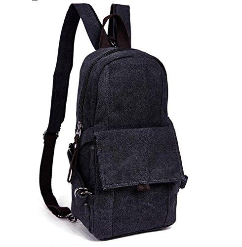 &ZHOU Borsa di tela, Tendenze moda multiuso per uomini e donne zainetto zaino zaino del turismo, petto bag borsa a tracolla in tela , khaki Black