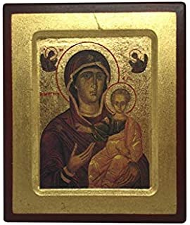 Virgin Mary and Baby Jesus Hanging Icon Style Religious Wall Plaque Decor