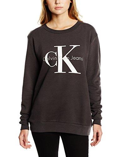 Calvin Klein Ck Jeans (Calvin Klein Jeans Damen Sweatshirt CREW NECK HWK TRUE ICON, Gr. X-Small, Schwarz (Meteorite 965))