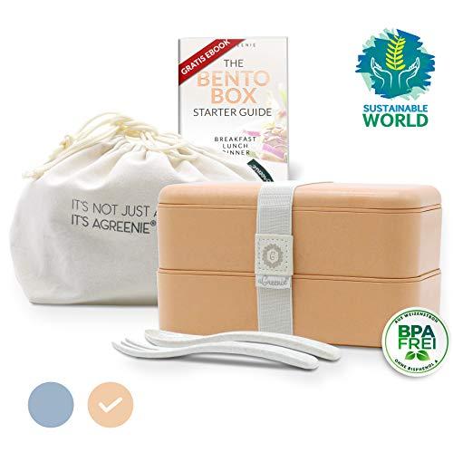 aGreenie die japanische Premium Bento Box - Coral - Eco Lunchbox - Brotdose für Kinder und Erwachsene - Unterteilung in 4 Fächer - auslaufsicher - BPA frei - inkl. Besteck, Tasche und gratis E-Book
