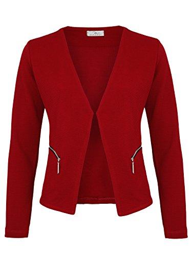 Damen Blazer mit Taschen (382) (42/XL, Bordeaux)