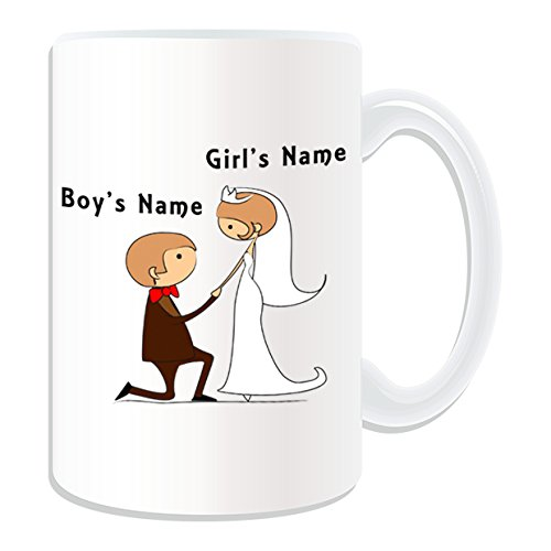 Personalisiertes Geschenk, großer vorschlagen, auf dem Knie Tasse (Bräutigam & Braut Design Thema, weiß)-alle Nachricht/Name auf Ihre einzigartige Tasse-Paar Verlobungsring Vorschlag -