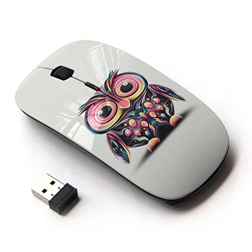 KOOLmouse [ Mouse Senza Fili Ottico 2.4G ] [ Owl Pink Eyes Colorful Disco Bird Drawing ] - Disco Eye