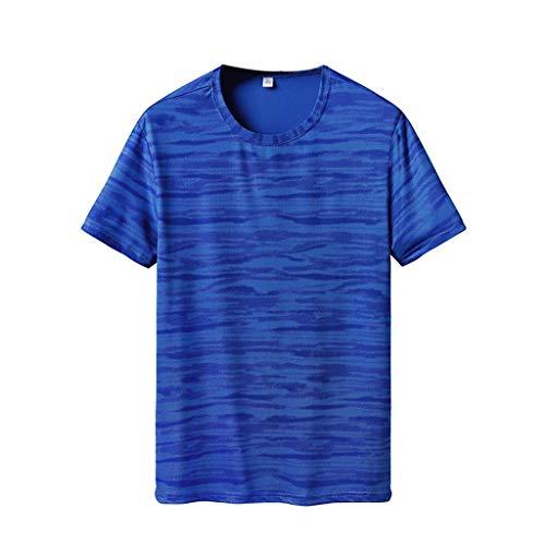 Camisetas Hombre Manga Corta Verano 2019 Nuevo SHOBDW Cuello Redondo Camisetas Hombre Deporte Gym Fitness Ropa de Secado Rapido Camisetas Tallas Grandes Venta de Liquidación L-6XL(Azul,5XL)