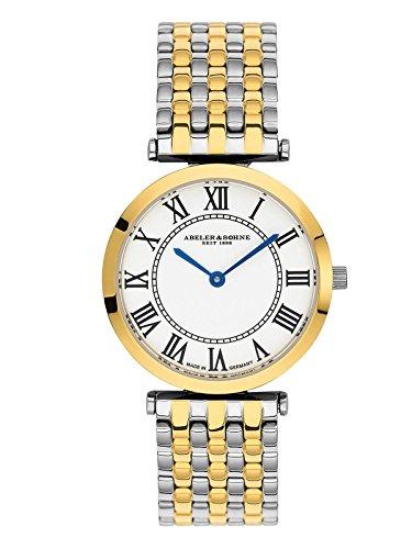 Abeler & Söhne fabricado en Alemania bicolor–Reloj de pulsera para mujer con correa de acero inoxidable y cristal de zafiro as3206