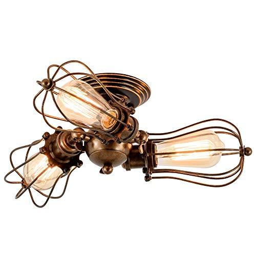 Yaione Vintage Deckenleuchte mit Keramikhalter E27 Retro Wire Cage Semi Flush Mount Deckenleuchten Industrial Home Indoor Leuchte Einstellbare Rustikale Öl Eingerieben Bronze 3-Lights -