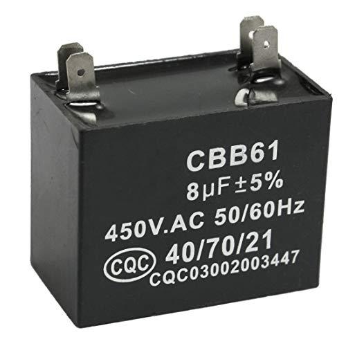 SODIAL(R) CBB61 8uF 450V AC 50 / 60Hz Klimaanlage Luefter Motor Lauf Kondensator -
