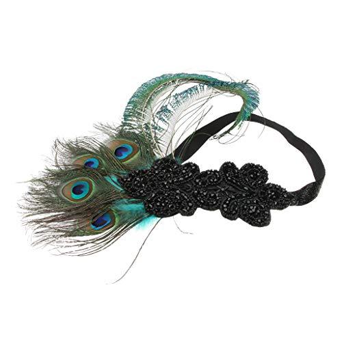 P PRETTYIA Frauen Vintage 1920er Jahre Damen Feder Stirnband Kopfstück Flappers Great Gatsby Haarband für Halloween Themenparty