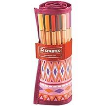 STABILO point 88 - Rotulador punta fina - Estuche premium de tela Rollerset edición limitada Festival Spirit color rosa, con 25 colores